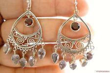 Red Garnet Lavender Amethyst Ornate 925 Sterling Silver Chandelier Earrings