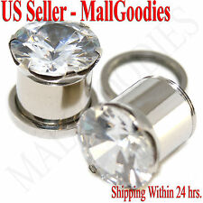 """1261 Screw-on / fit Clear Solid CZ Prongs Ear Plugs Retainers 1/2"""" Inch 12.7mm"""