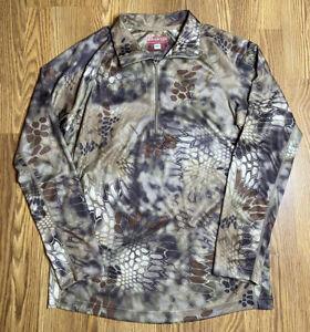 Men's Kryptek 1/2 Zip Hyperion Highlander Hunting Camo Green Brown Fleece Medium