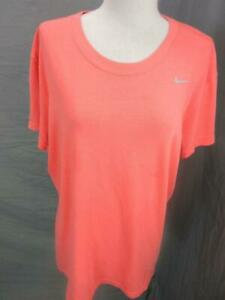 NIKE SIZE XL WOMENS CORAL ATHLETIC DRI-FIT SHORT SLEEVE COTTON T-SHIRT T857
