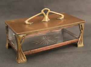 Antique Successionist Cut Glass & Bronze Dresser Vanity Box, No Reserve