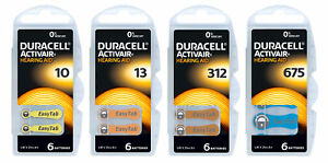 Piles auditives Duracell DA 10, 13, 312, 675 également pour prothèses  -Phonak