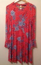 m s dress 14 used Red Floral Long Sleeve Used M&S DRESS UK 14 RED FLORAL