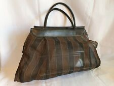 Vintage Black & Brown Nylon Shopping Bag