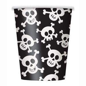 8 Haunted Halloween Happy Skulls Bones Party 266ml Paper Cups