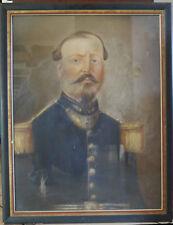 Portrait  ancien personnage anonyme militaire  non signé à restaurer