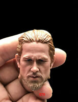 """Charlie Hunnam 1/6th Male Head Sculpt Carving Model Movie Actor for 12"""" Figure"""