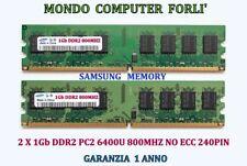 KIT 2 GB (2X1GB) DDR2 MEMORIA/RAM <SAMSUNG>PC2 6400U 800MHz NO ECC ALTA DENSITÀ