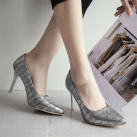 Fashion Womens Pointed Toe High Heels Pumps Elegant Leather Stilettos Shoes
