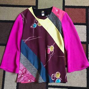 ANNE NAMBA Top fuchsia SilkPrint Asian Art to Wear Blouse Size L