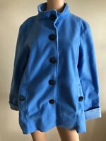 Ladies Medium Blue Fully Lined Soft Fleece Coat Button Up Jacket With Pockets