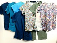 Women's Scrubs Mixed brands Lot Of 8 Pieces, Tops, Pants,, Size XS & S