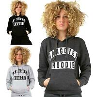 Womens Ladies Plain Hooded HANGOVER HOODIE Slogan Fleece Sweatshirt Jumper Top