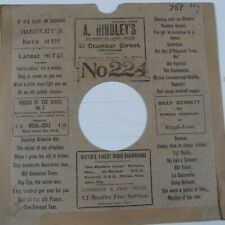 "78 rpm 10"" inch card gramophone record sleeve A. HINDLEY's NOTTINGHAM"