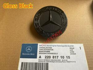 FULL BLACK Mercedes Benz 57mm Replacement Bonnet Emblem Sticker Badge C E S AMG