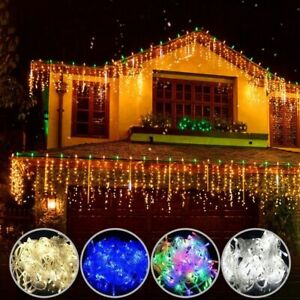 Christmas LED Curtain Lights Garden Wedding Decoration Icicle Waterfall Lamps
