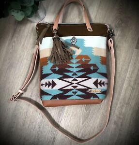 SALE!  Leather Tote Bag Purse Native American style  Pendleton Wool Western