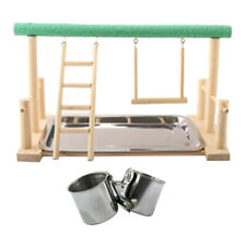 Parrot Bird Perch Table Top Stand with 7.5cm Steel Cups for Medium& Large Breeds