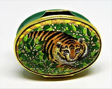 Halcyon Days Enamel Box - Tiger In The Jungle - Wild Cat - Vines Of Leaves