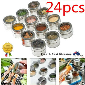 24X Spice Tins Magnetic Spice Jar Stainless Steel Seasoning Organisers Container