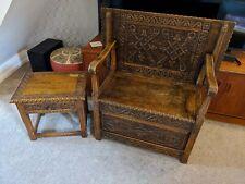 CARVED MONKS BENCH/TABLE + SIDE TABLE 1975 OAK? ANTIQUE VINTAGE FARMHOUSE GOTHIC