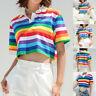 Fashion Women Turn-down Collar Short Sleeve Rainbow Striped Print Short Crop Top