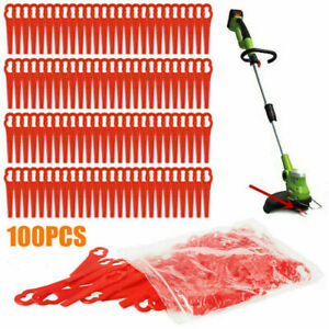 100pcs Plastic Blade Set Cutter Replace For Cordless Grass Trimmer Strimmer UK