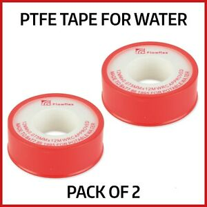 2 x PTFE Threaded Sealing Plumbers Tape for Water Tight Pipe Fittings Seals 12mm