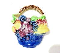 Vintage Wall Pocket Vase Japan Fruit Grapes Porcelain 6x7x2