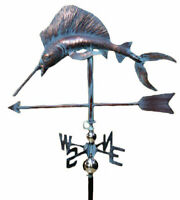 Handcrafted Swordfish 3D 3Dimensional Fish Marlin  Weathervane Copper Patina