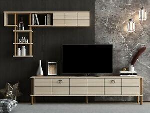 Light Oak Colour  TV Unit SET Shelves Wooden Media Storage & Wall Unit- Milano