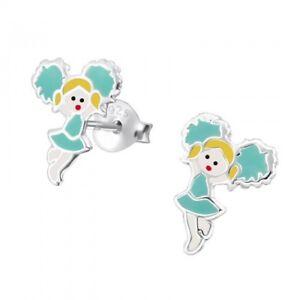 Children's Girls Ladies 925 Sterling Silver Stud Cheerleader Earrings -  Boxed