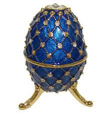 Oeuf-boîte à musique émail bleu perlé orné de strass Inspiration Oeuf K Faberge