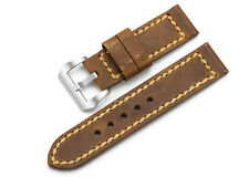 24mm Brown Genuine Leather Watch Straps Steel Tan Buckle Strap For Panerai Watch