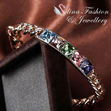 18K Rose Gold Plated Made With Swarovski Crystal 5x Square Cut Colorful Bracelet