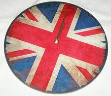 RETRO Wanduhr, Glas Uhr - LP Uhr Union Jack *England* blau-rot