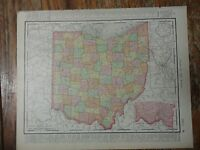 Nice colored map of the State of Ohio -1907 Universal Atlas of the World
