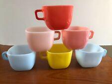 Vintage 50/60s Glasbake Lipton Square Set 6 Soup Coffee Mugs Mid Century Kitsch