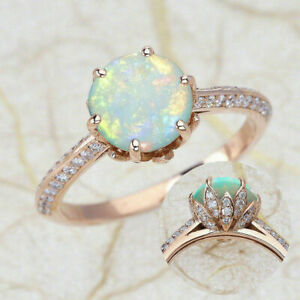 1.50 CT Fire Opal Lotus Flower Engagement Ring with Diamond 14K Rose Gold Finish