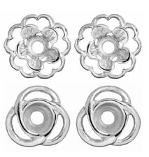 2 Pair Earring Jackets  of 1 Pair Silver Loops and 1 Pair Silver Flower Jacket