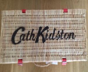 Cath Kidston WICKER hamper PICNIC BASKET new with tag STORAGE