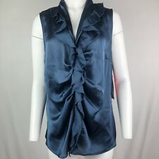 9aa2409ddb3 Sunny Leigh Women s Blouse Size 1X Blue Ruffle front Sleeveless NWT