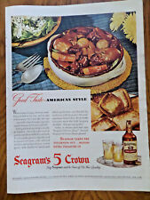 1945 Seagram's 5 Crown Whiskey Ad 1945 1847 Rogers Bros Silverplate Dinah Shore