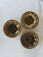 "2 Vintage Canonsburg Hull brown drip ironstone 6"" cereal bowls"