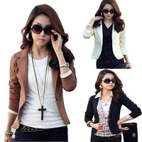 Womens Casual OL Jacket Coat Lapel One Button Long Sleeve Suit Blazer VNC