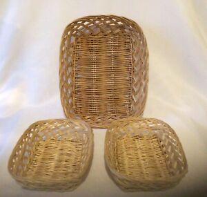 Set Of Three Natural Wicker Rectangular Storage Baskets Hampers Display Trays