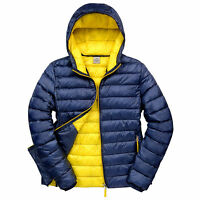 Mens Padded Jacket Coat Quilted Puffer Hooded Bubble Neck Zip Down Winter S-3XL
