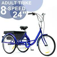 24 Inch Trike 8 Speed Adult Tricycle 3-Wheel Blue Bike w/Basket for Shopping
