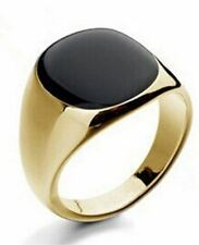 18K GOLD EP BLACK OVAL CUT MENS DRESS RING SIZE 7-12 YOU CHOOSE