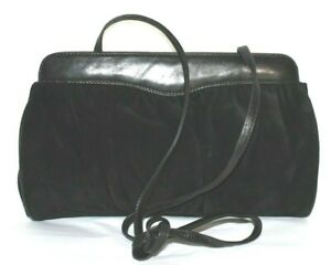 ❤️ SCEPI Italian Black Suede Leather Cros-Body Clutch Shoulder Bag GREAT! L@@K!